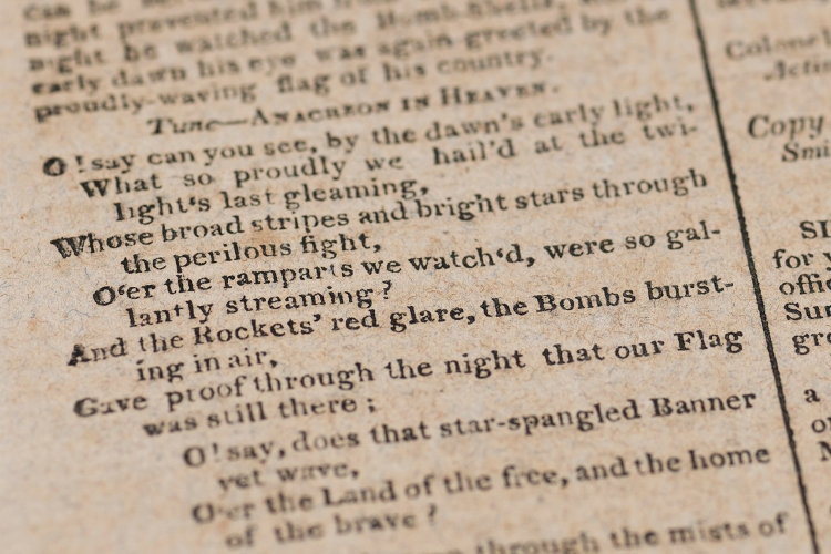"A copy of the ""Baltimore Patriot"" containing the song that would become ""The Star-Spangled Banner"""