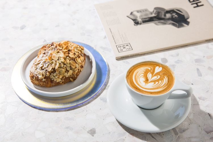 A pastry and cup of espresso served at Interstellar in Los Angeles