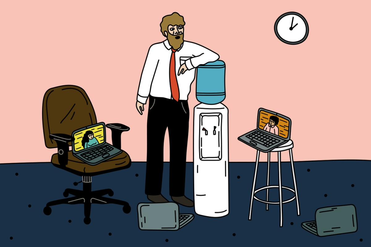 A cartoon man hangs out by the water cooler