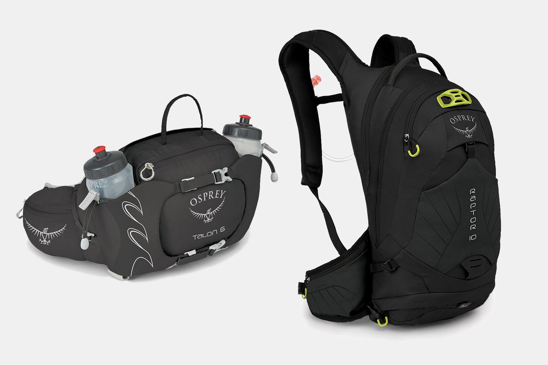 Osprey Talon hip bag and Raptor mountain biking bag