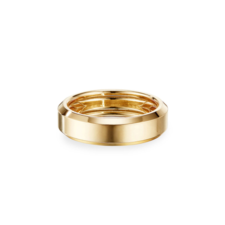 Beveled Edge 18k Gold Band Ring David Yurman