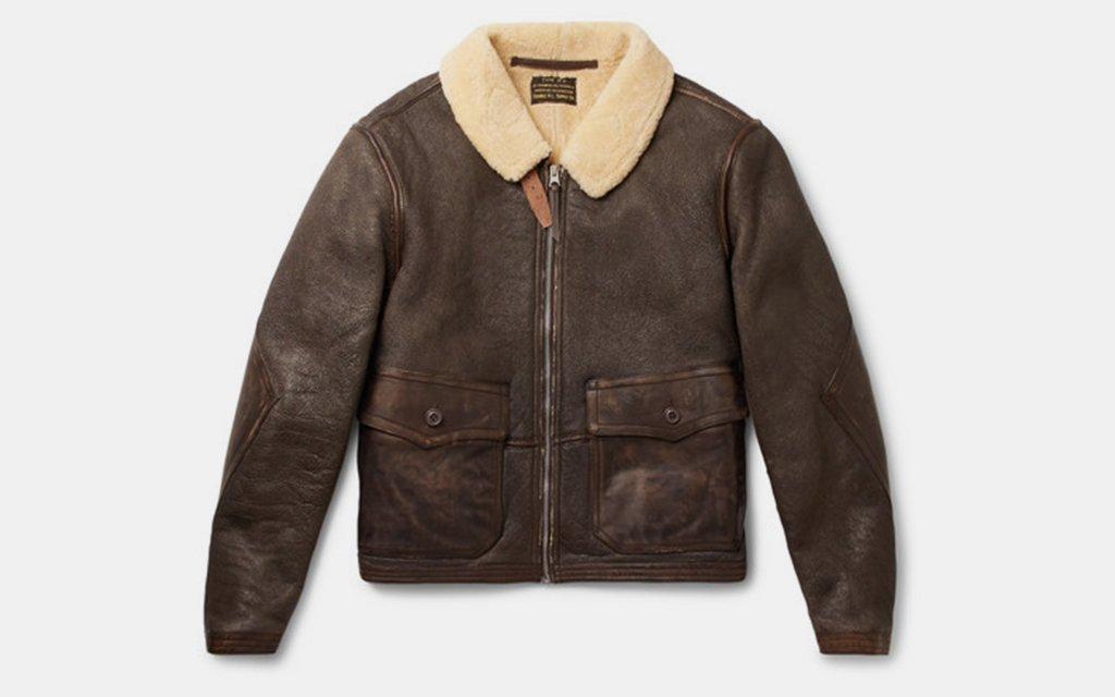 Ralph Lauren RRL Slim Fit Shearling Leather Jacket