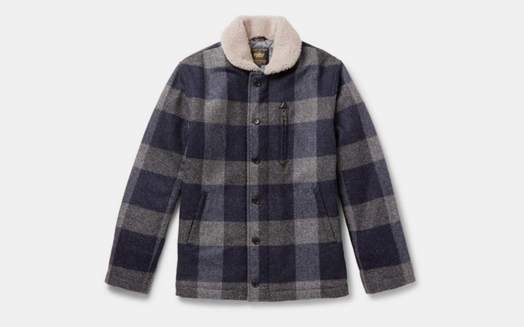 Golden Bear Shearling Trimmed Wool Coat