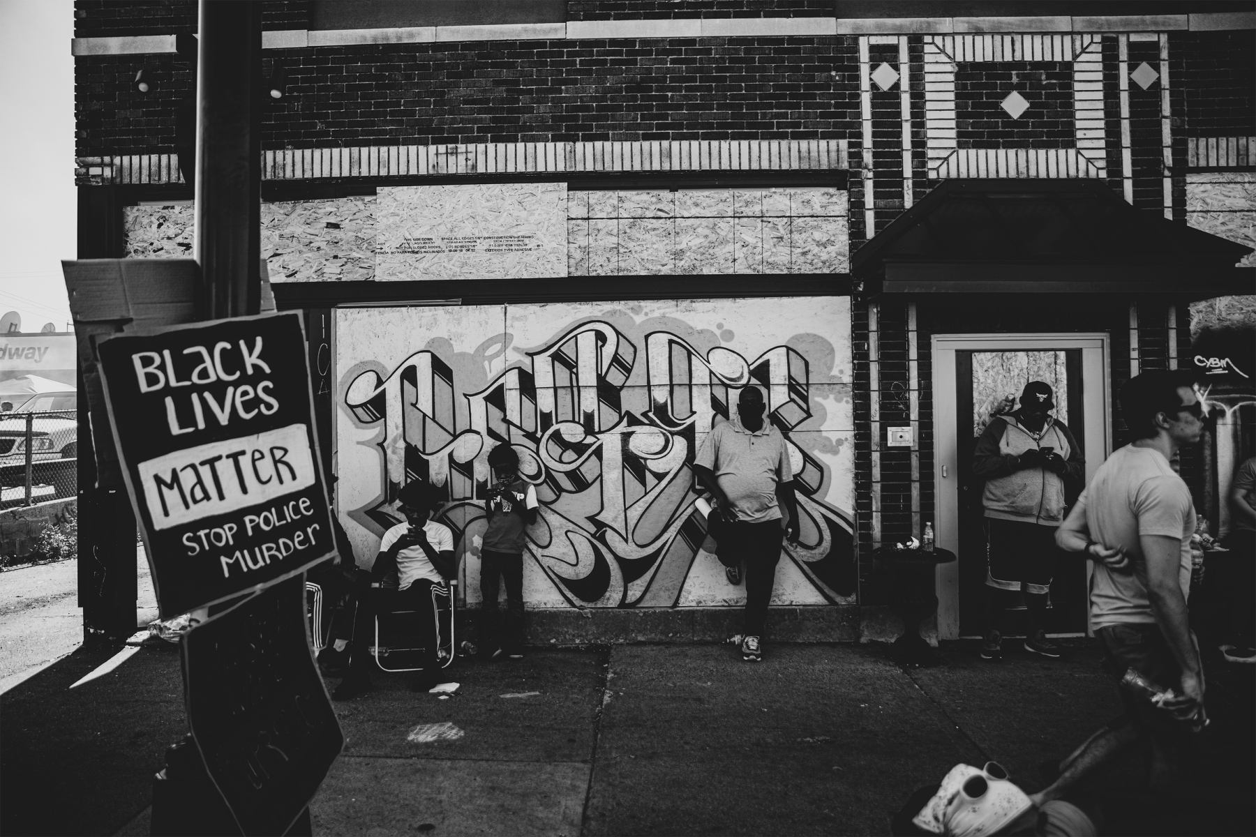 Graffiti and signs for George Floyd and Black Lives Matter