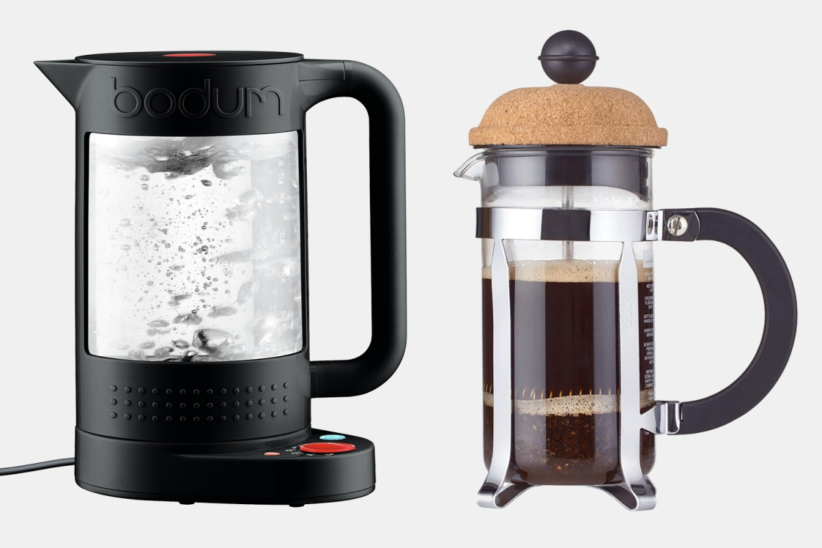 Bodum electric kettle and French press coffee maker