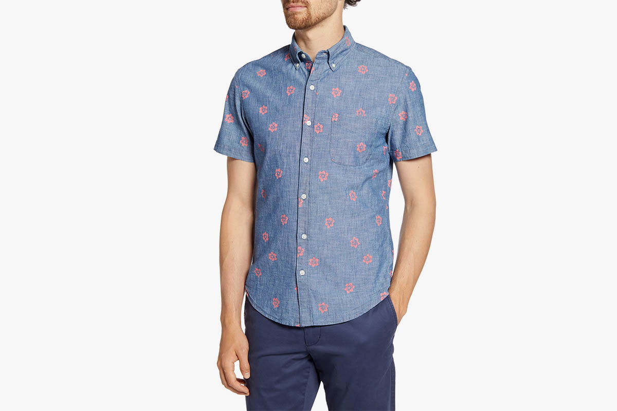 Bonobos Slim Fit Floral Short Sleeve Button-Down Chambray