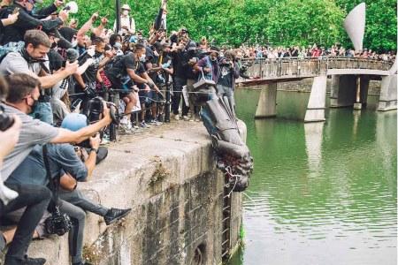 Edward Colston statue dumped into water in Bristol