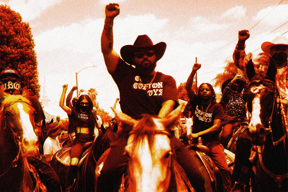 Compton Cowboys ride in a peaceful protest after the death of George Floyd