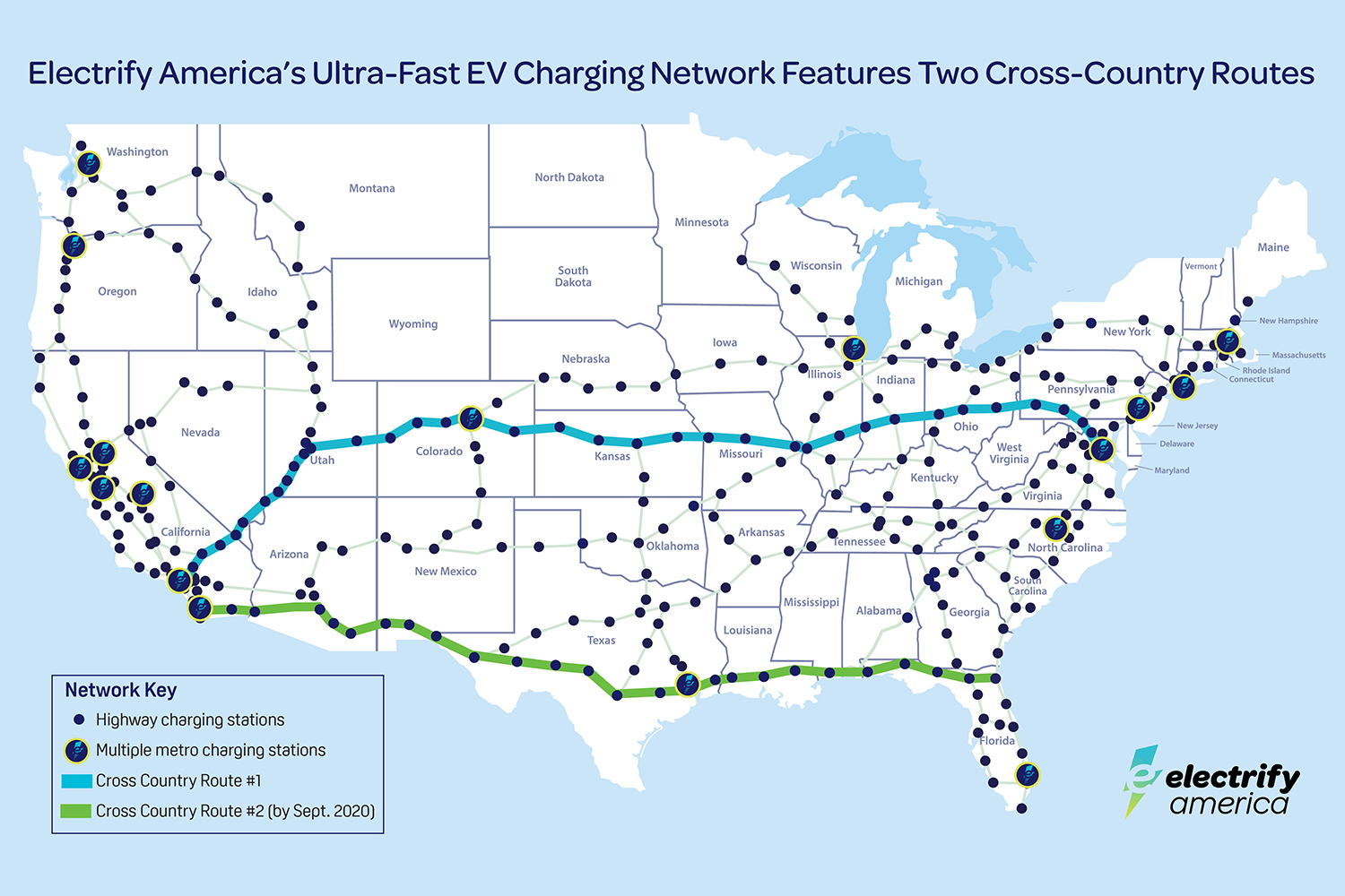 Electrify America map of electric vehicle charging station network