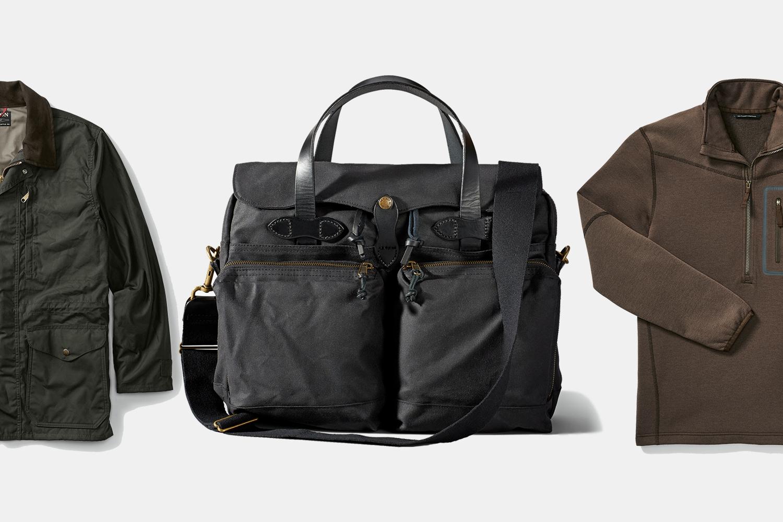 Filson waxed coat, tin cloth briefcase and fleece jacket