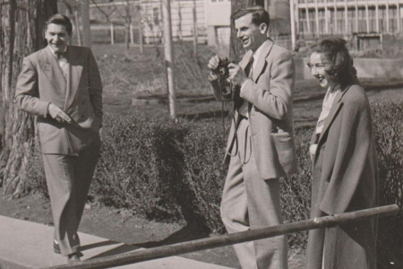Robie Macauley with Arthur Koestler and Flannery O'Connor at Amana Colonies in Iowa, 9 Oct 1947