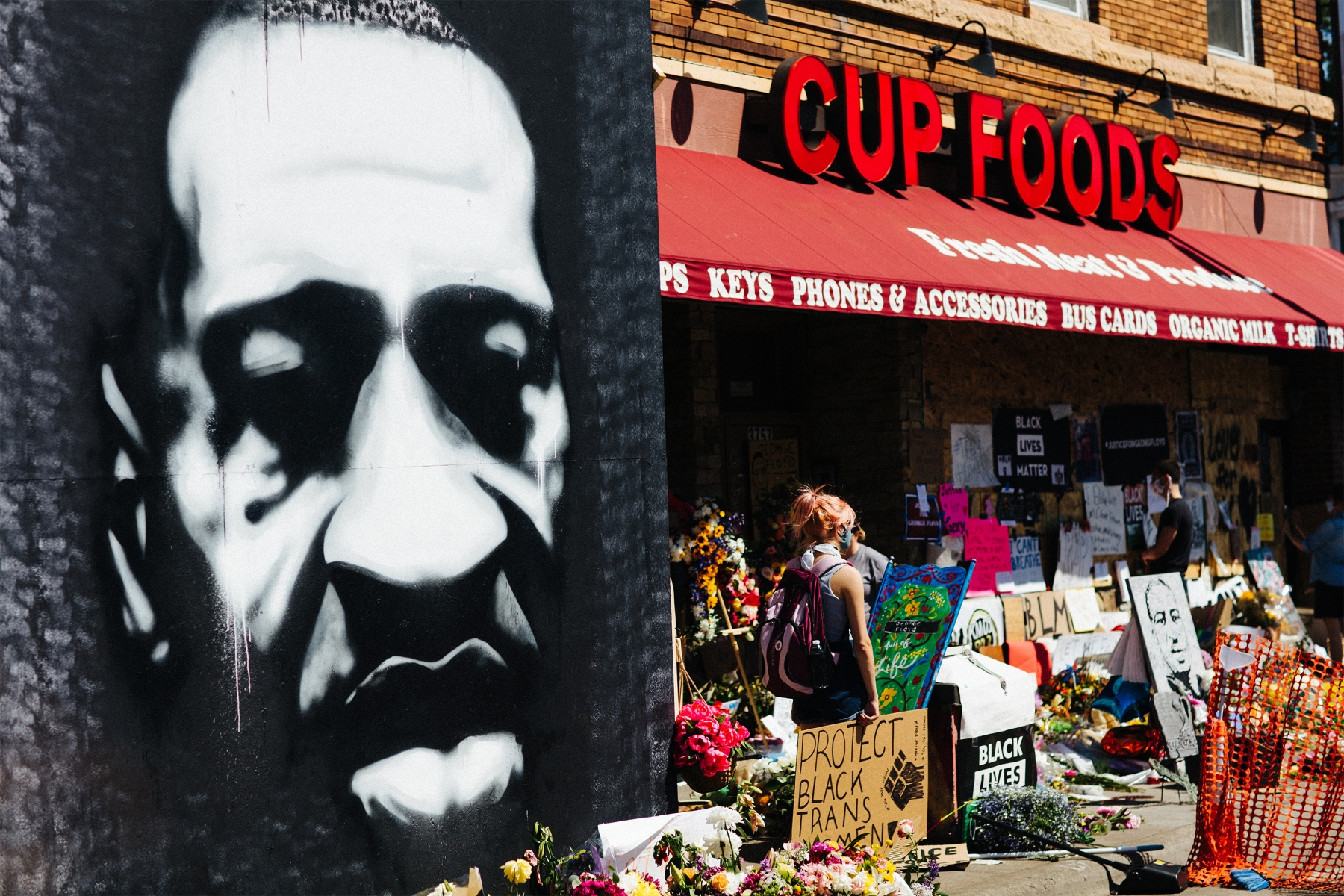 Black and white mural of George Floyd outside Cup Foods in Minneapolis