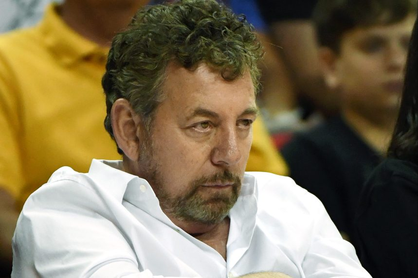 James Dolan slouches in his seat at a game