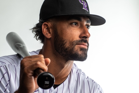 Ian Desmond of the Colorado Rockies poses for a portrait during Photo Day at the Colorado Rockies Spring Training Facility at Salt River Fields at Talking Stick on February 19, 2020 in Scottsdale, Arizona. (Photo by Rob Tringali/Getty Images)