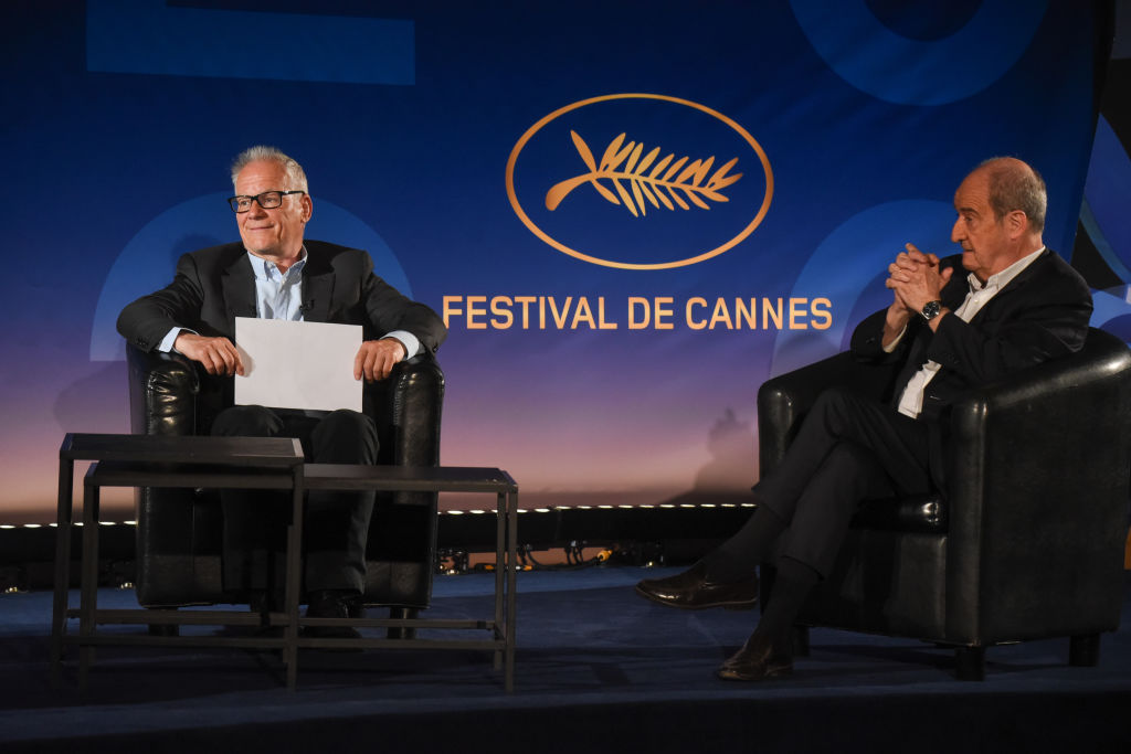 (From L) Cannes Film Festival's director Thierry Fremaux (C) and President Pierre Lescure (R) reveal the 73rd Cannes Film Festival Official Selection, in Paris, on June 3, 2020. (Photo by Serge ARNAL / STARFACE / AFP)