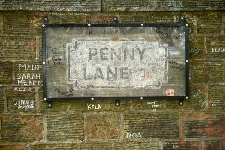 Penny Lane sign in Liverpool, England