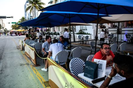 Diners eating outside at a restaurant during coronavirus pandemic