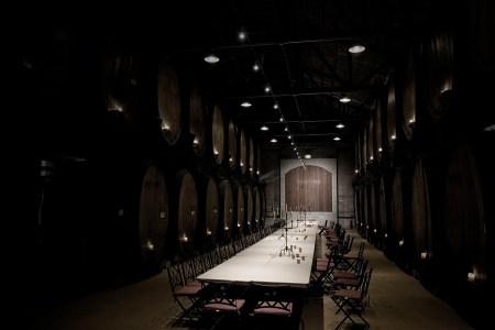 The wine tasting room is empty