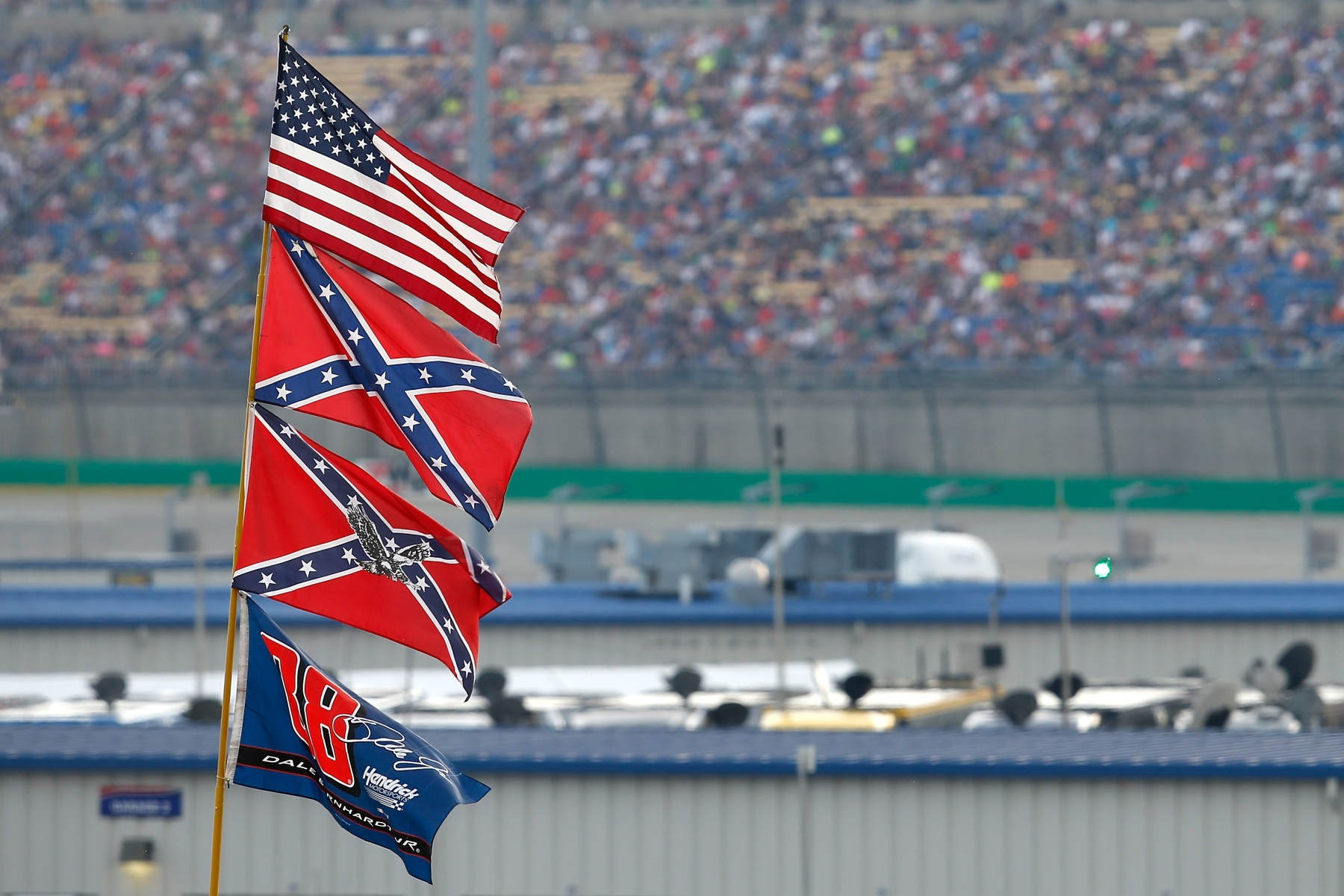 Confederate flags flying at a NASCAR stock car race