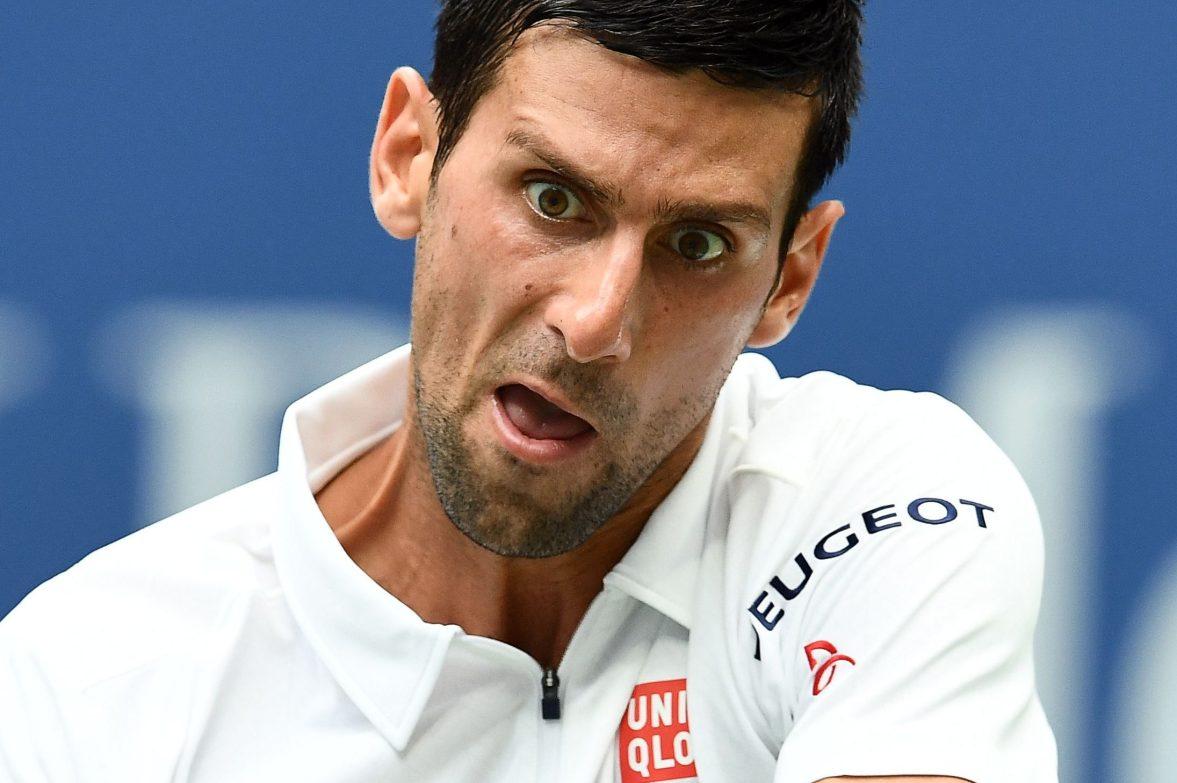 Novak Djokovic hits a tennis ball