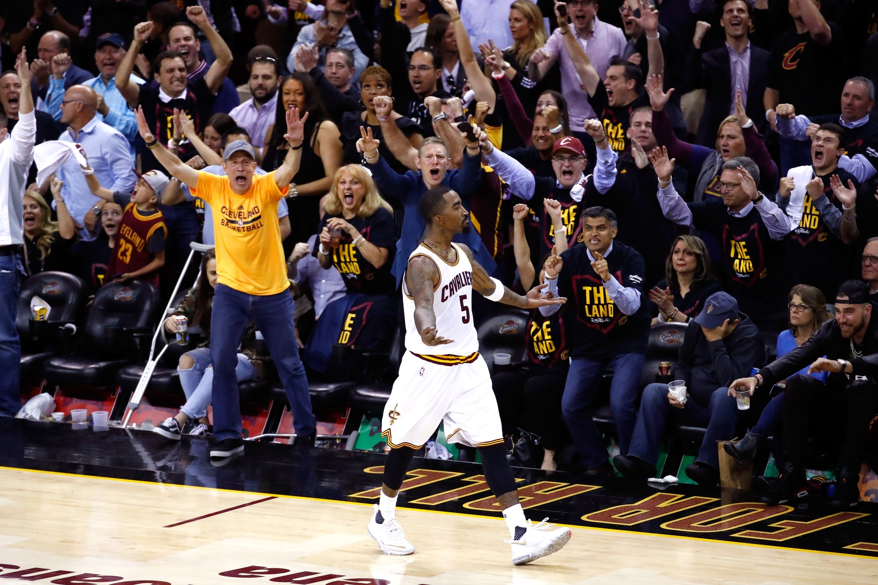 J.R. Smith celebrates during game 3 of the 2017 NBA Finals