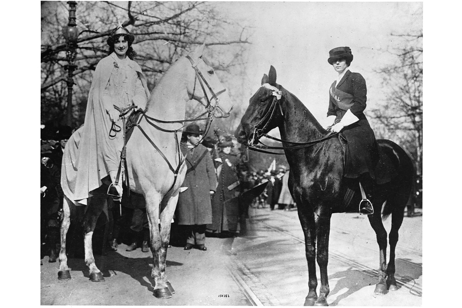Suffragist Inez Milholland rides on a horse at the Woman Suffrage Procession in 1913