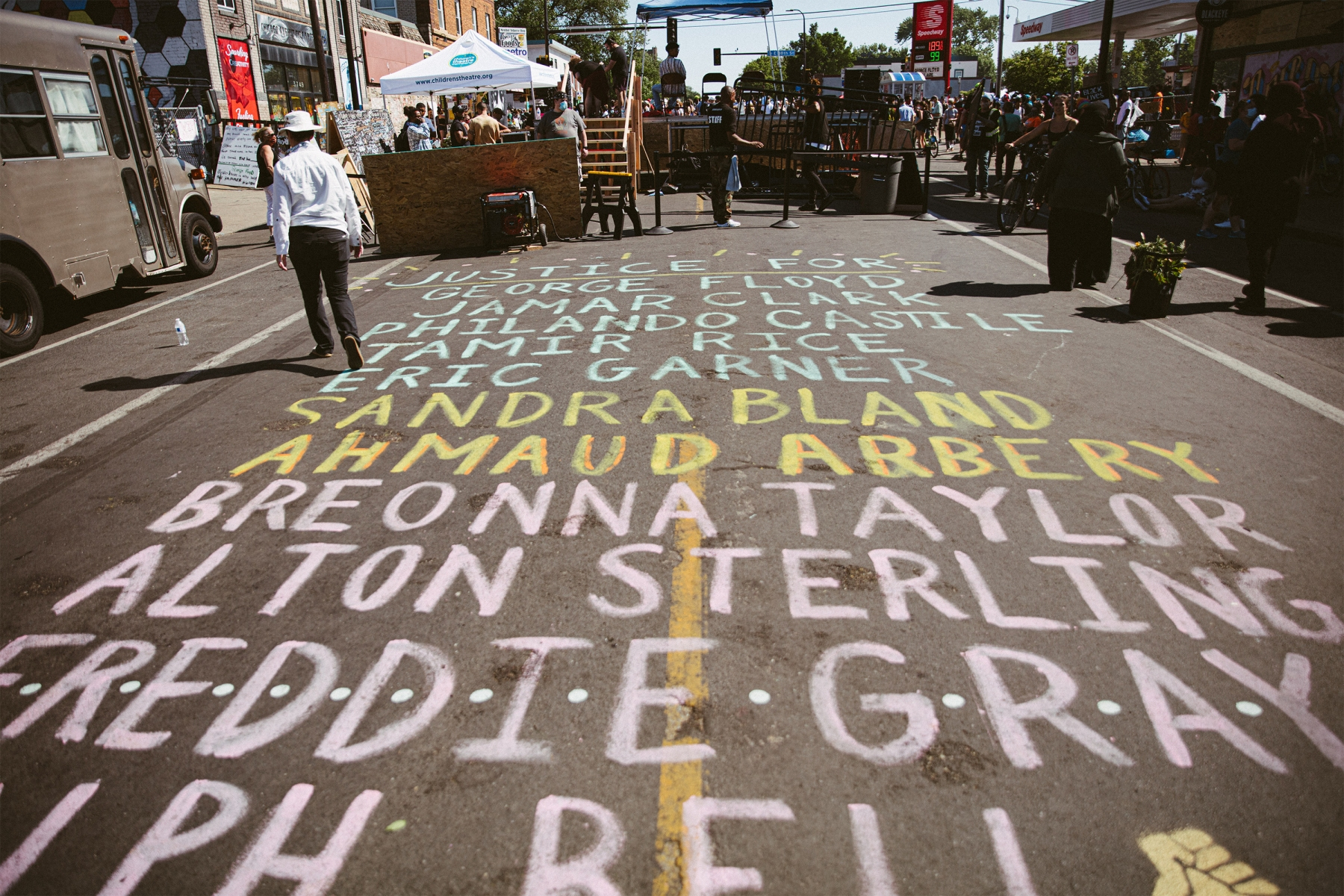 Street painting in Minneapolis listing Black victims of violence
