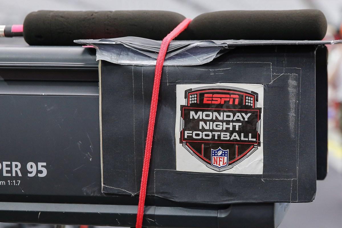 Monday Night Football logo on a TV camera