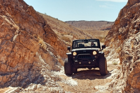 Black Jeep off-roading in the Nevada desert