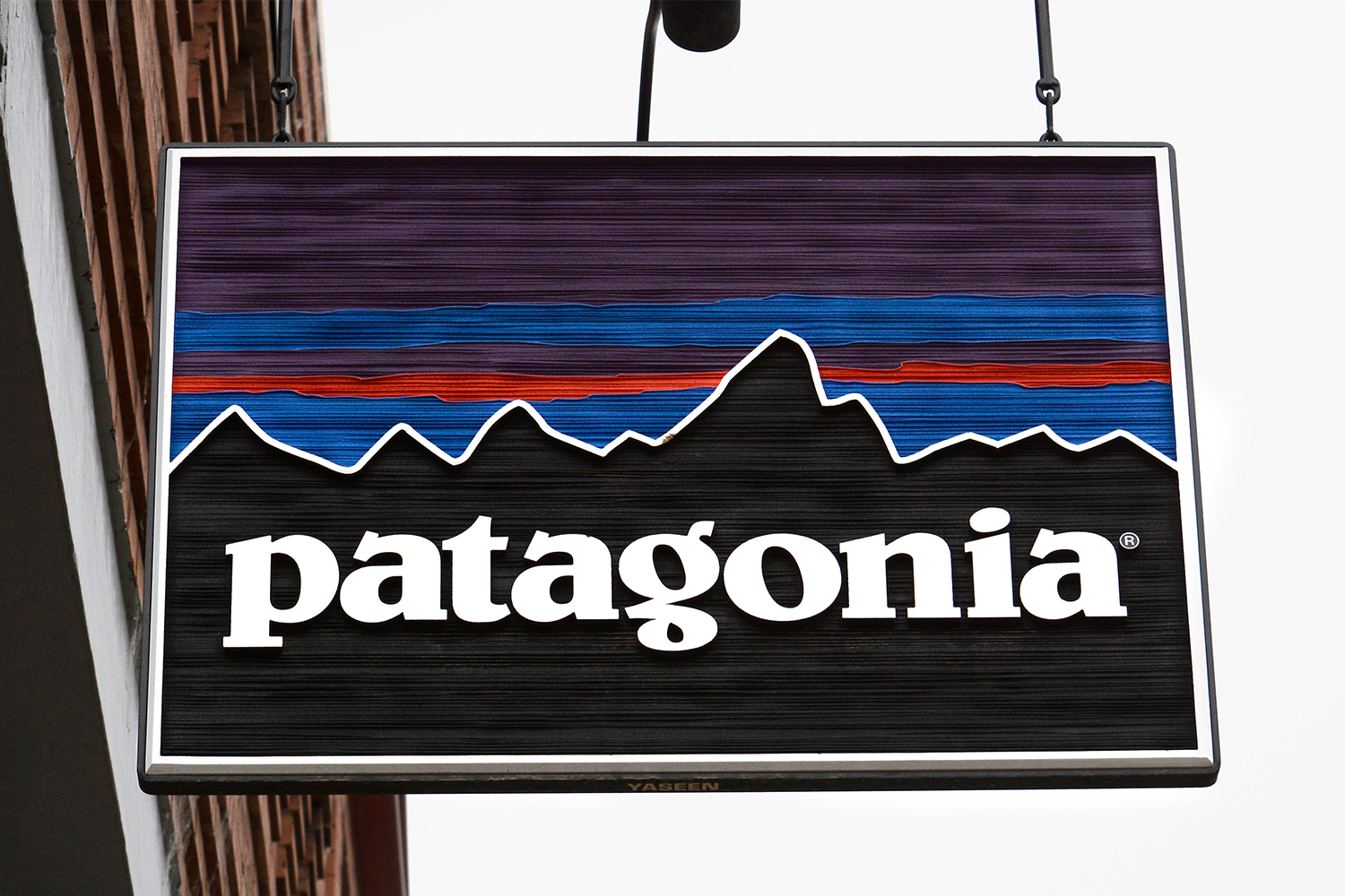 A shop sign for outdoor brand Patagonia in Telluride, Colorado