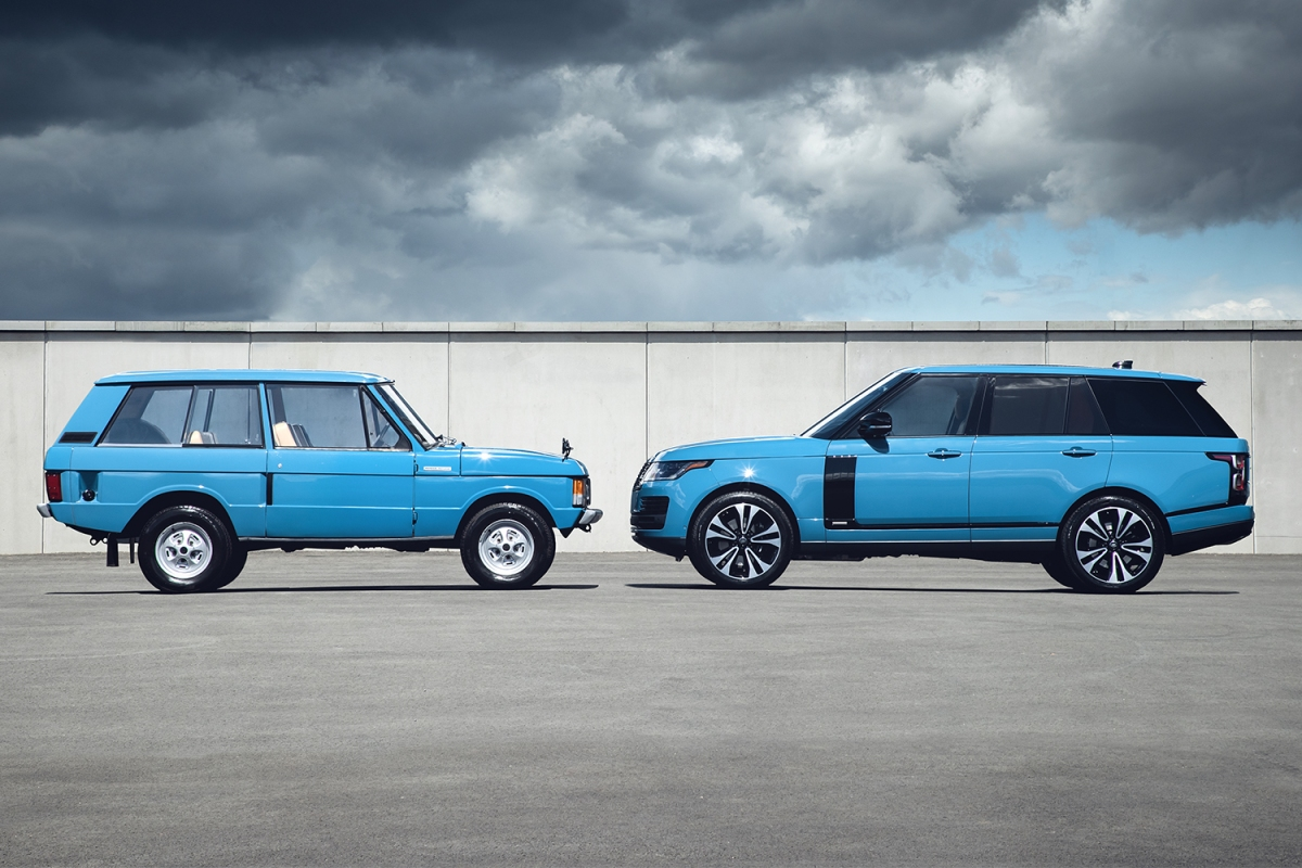 A 1970 Range Rover and limited-edition Range Rover Fifty in Tuscan Blue