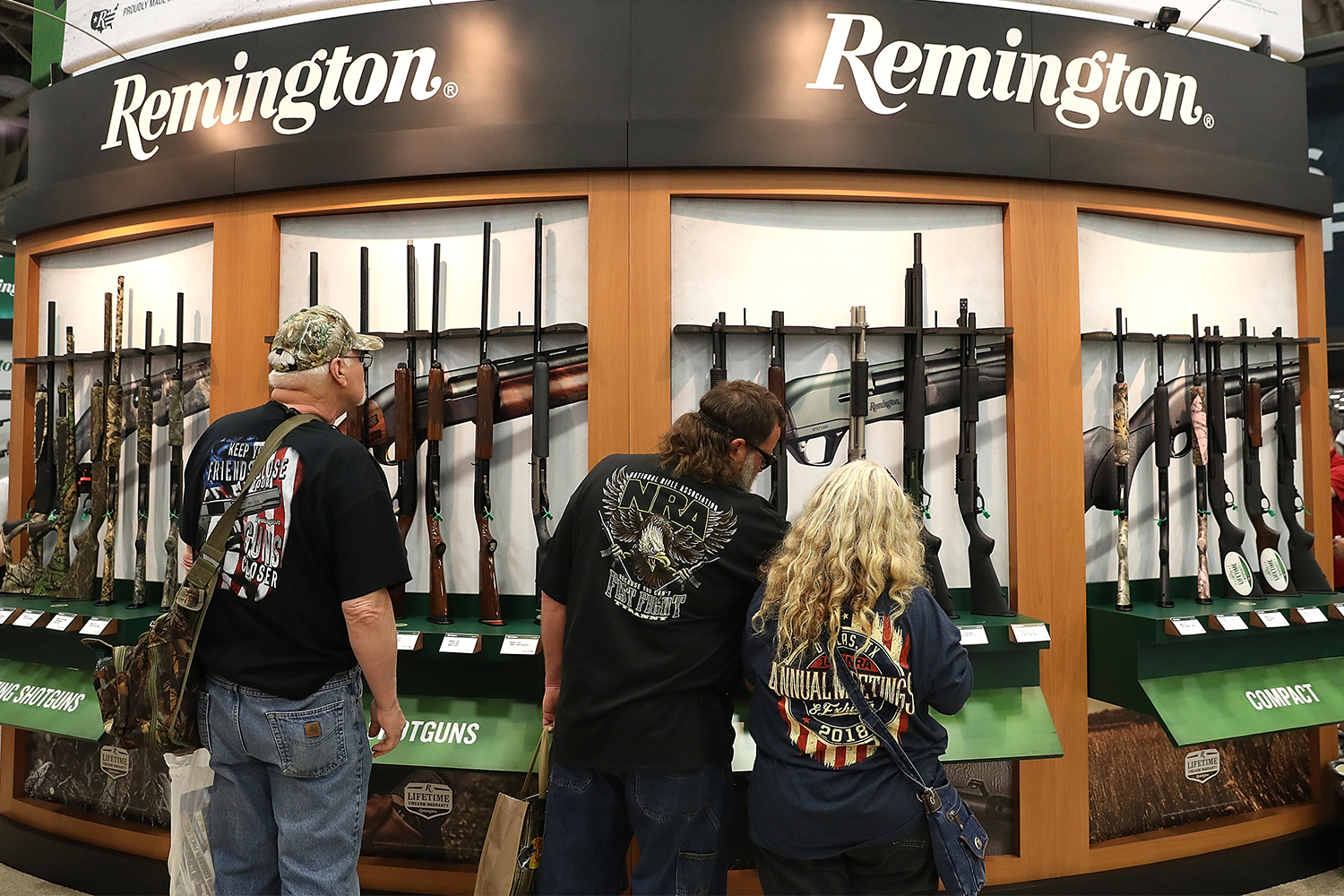 A Remington shotgun display at the annual NRA meeting in 2018