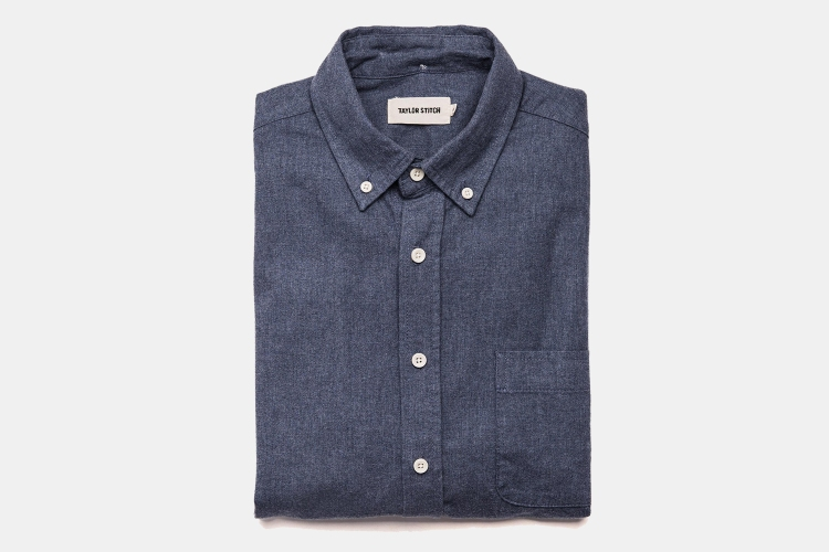 The Jack men's shirt from Taylor Stitch in Brushed Heather Navy