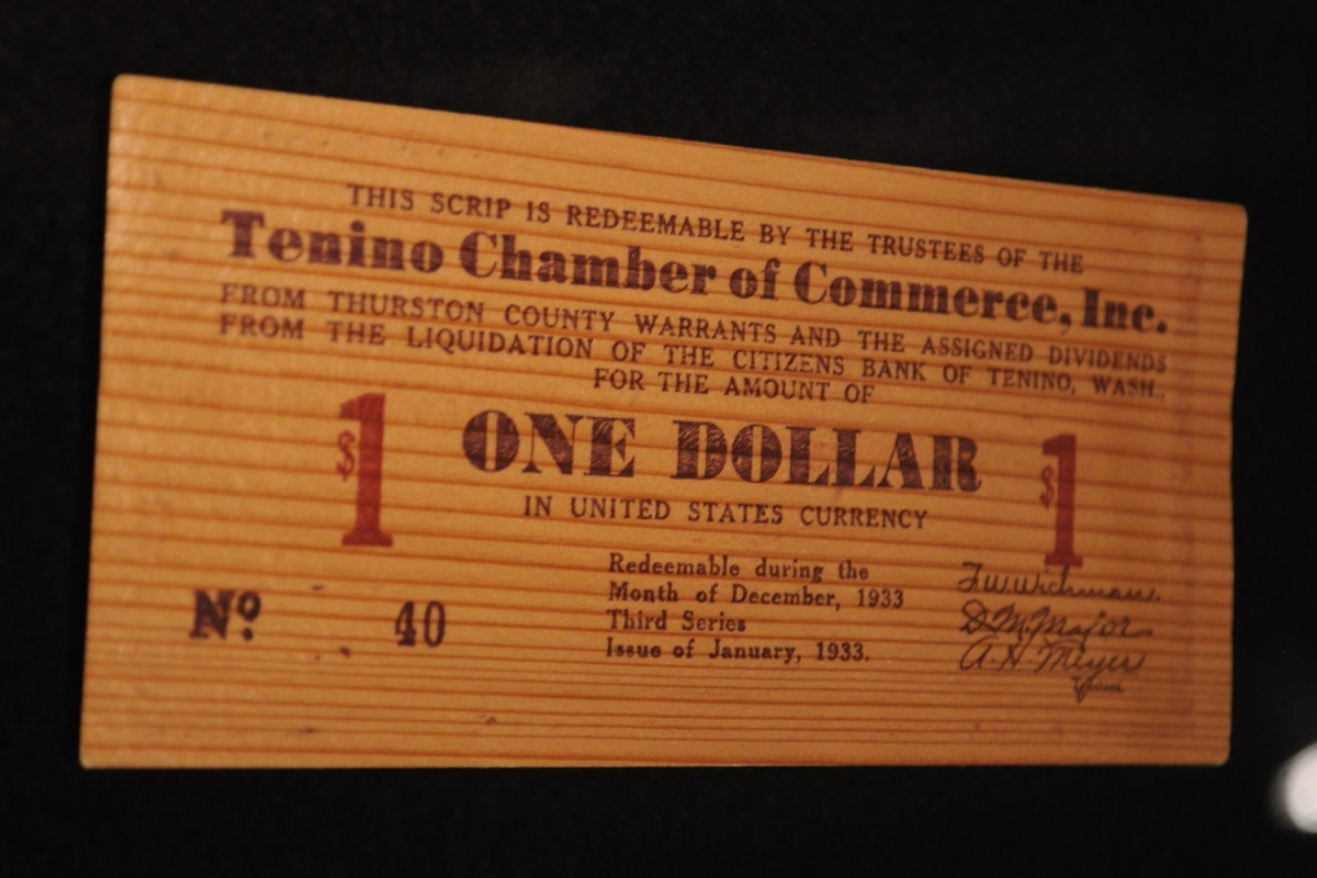 Wooden money used in Tenino, Washington during the Great Depression