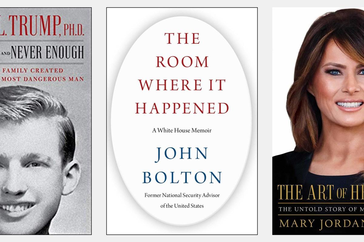 Donald Trump books from Simon & Schuster by Mary Trump, John Bolton and Mary Jordan