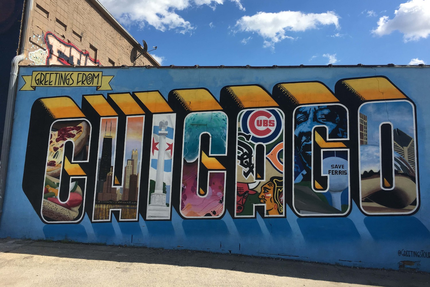 """The """"Greetings from Chicago"""" is one of the city's most popular murals"""