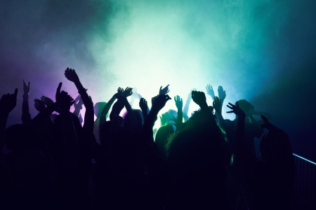 Crowd of people dancing at a rave