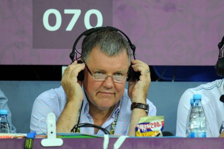 Television commentator Clive Tyldesley working for ITV from the United Kingdom in 2012 (AMA/Corbis via Getty)