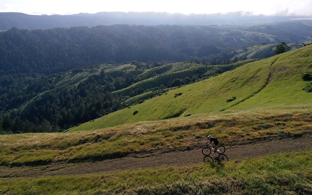 A cyclist riding a gravel bike through Lagunitas, California's Barnabe Mountain last month.