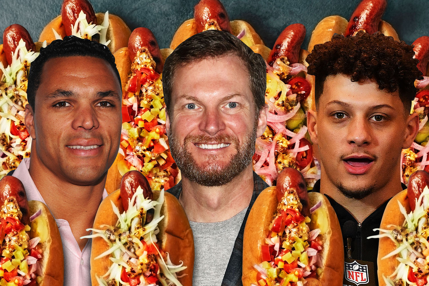Three of our hot dog panelists, Tony Gonzalez, Dale Earnhardt and Patrick Mahomes.