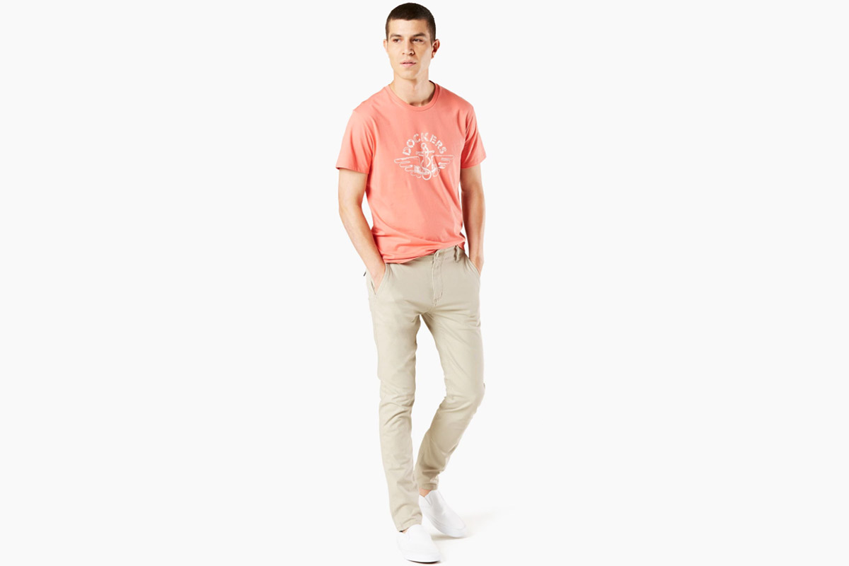 Alpha Men's Khaki Pants, Skinny Fit