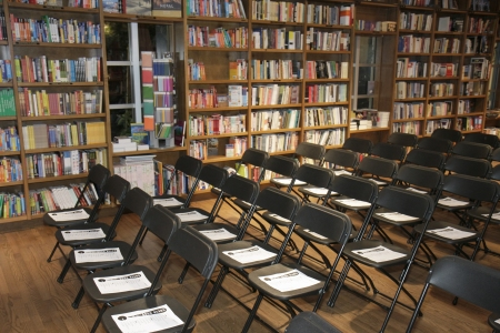 Chairs set up inside a bookstore