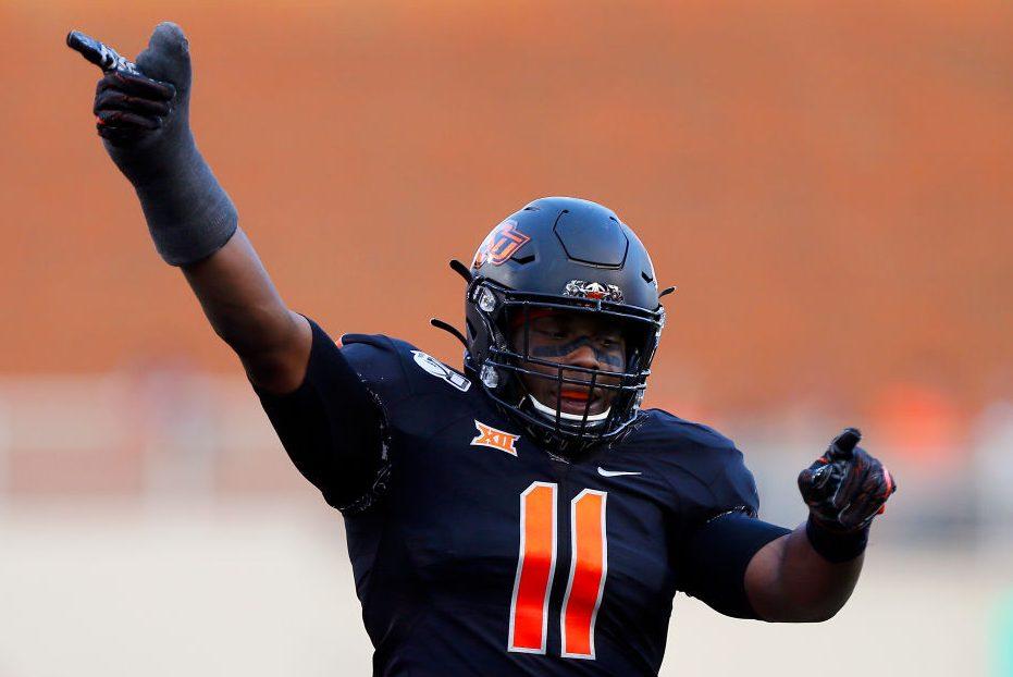 Linebacker Amen Ogbongbemiga of the Oklahoma State Cowboys