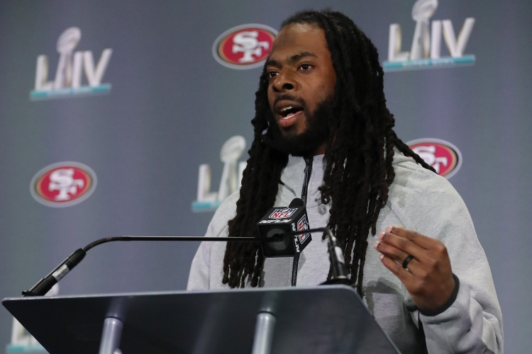 Richard Sherman of the 49ers prior to Super Bowl LIV