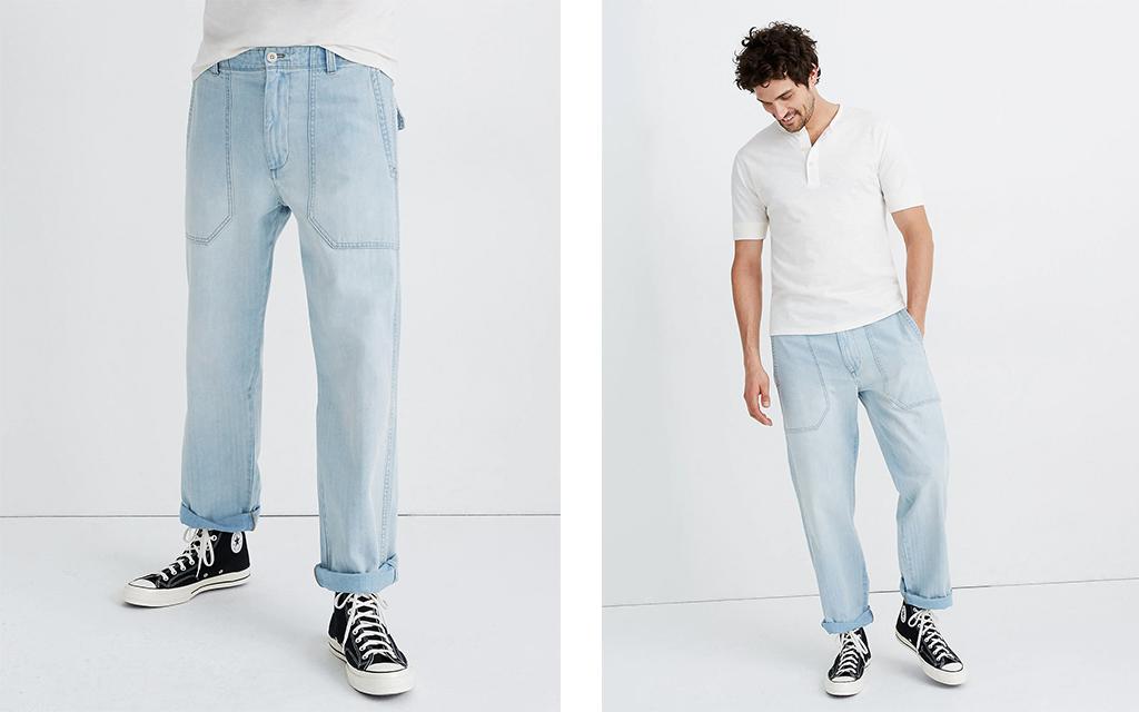 Madewell Indigo Relaxed Straight Workwear Pants