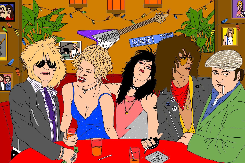 Glamrockers hang out at a bar