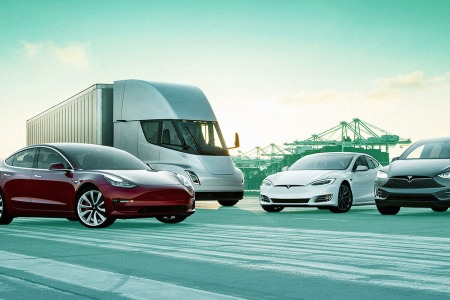 Tesla's fleet of vehicles including the Model 3 and Semi truck