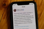 A tweet from Donald Trump on a smartphone