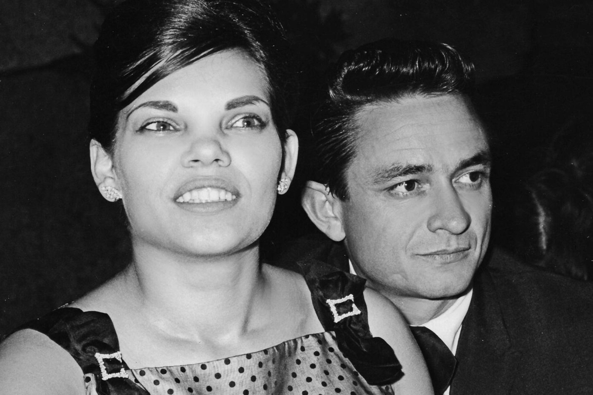 Johnny Cash sits with his first wife Vivian Liberto