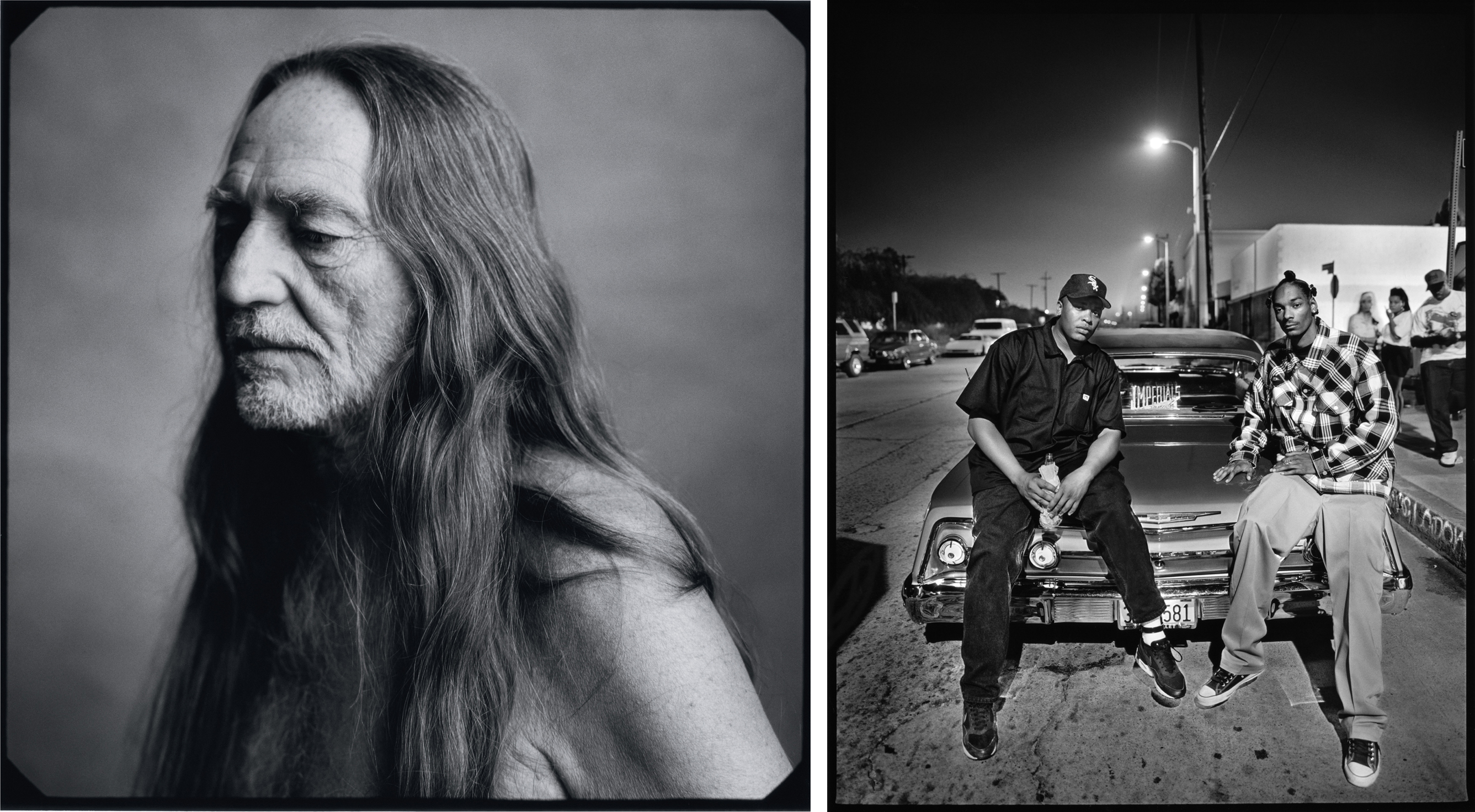 Left: Willie Nelson, New York, NY, 1996. Right: Dr. Dre and Snoop Dogg, Los Angeles, CA photograph by Mark Seliger